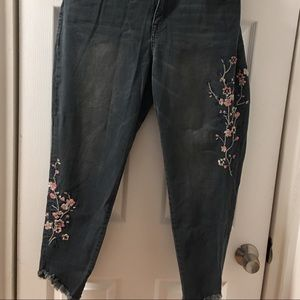 Lane Bryant Grey Floral Jeans with stretch